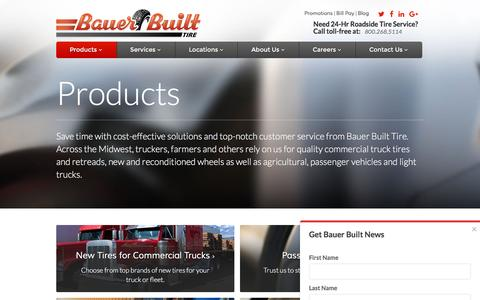 Screenshot of Products Page bauerbuilt.com - Tire Replacement - Tire Shop - captured Nov. 22, 2016