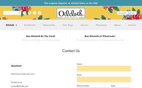 Screenshot of Contact Page oilcloth.com - Contact Us – Oilcloth International, Inc. - captured Oct. 19, 2018