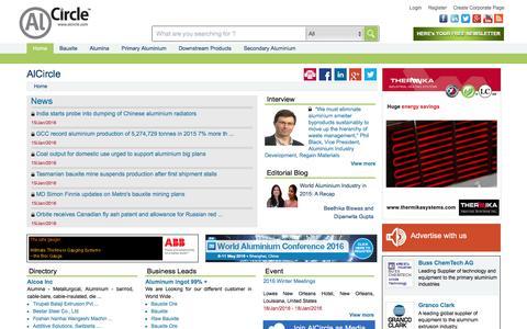 Screenshot of Home Page alcircle.com - A Virtual Aluminium Ecosystem: Find aluminium news, events, aluminium blog, interview, business leads, directory and aluminium price - captured Jan. 17, 2016