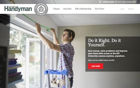 Screenshot of Home Page mydiyuniversity.com - The Family Handyman - captured Oct. 11, 2015