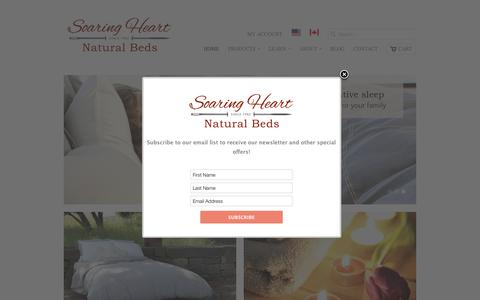 Screenshot of Home Page soaringheart.com - Soaring Heart Natural Bed Company - Welcome - captured March 29, 2017