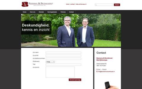 Screenshot of Contact Page boorsma-bronkhorst.nl - Boorsma & Bronkhorst Bedrijfskompas BV | Home - captured Oct. 5, 2014