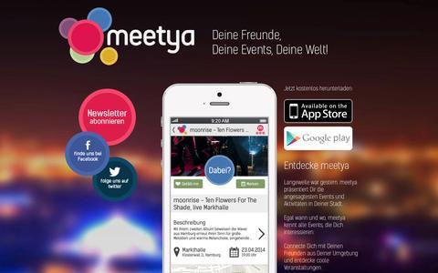 Screenshot of Home Page meetya.com - meetya - Events ein Deiner Stadt - captured Sept. 22, 2014