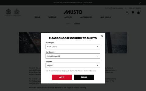 Screenshot of Jobs Page musto.com - Work at Musto | Musto - captured Nov. 6, 2018