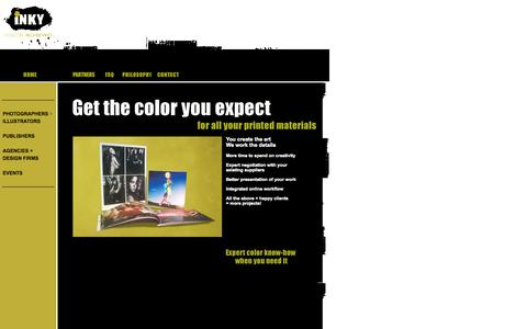 Screenshot of Home Page inkycolor.com - iNKY Color Management - captured Oct. 6, 2014
