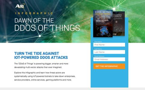 Screenshot of Landing Page a10networks.com - A10 Infographic - Dawn of the DDoS of Things - captured March 24, 2017