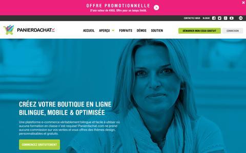 Screenshot of Home Page panierdachat.com - Créez votre boutique en ligne et site web e-commerce | Panierdachat.com - captured Sept. 25, 2015