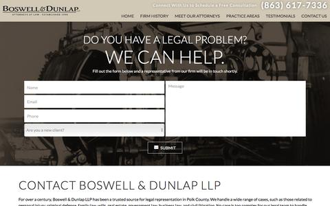 Screenshot of Contact Page bosdun.com - Contact Us | Boswell & Dunlap LLP - captured Nov. 23, 2016