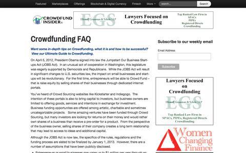 Screenshot of FAQ Page crowdfundinsider.com - Crowdfunding FAQ   Crowdfund Insider - captured April 22, 2018