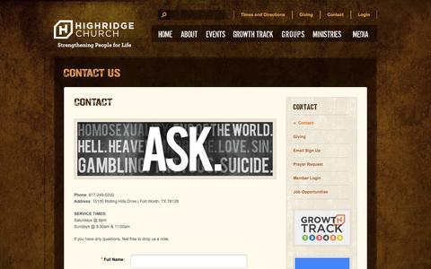 Screenshot of Contact Page highridgechurch.com - Contact | HighRidge Church - captured Sept. 30, 2014