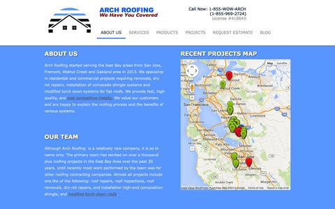 Screenshot of About Page arch-roofing.com - About Us - Arch Roofing - captured Sept. 30, 2014