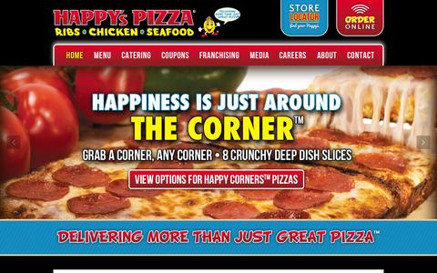 Screenshot of Home Page happyspizza.com - Happy's Pizza - The Best Pizza In Town - captured July 3, 2015