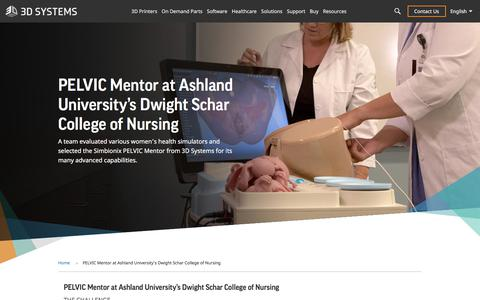 Screenshot of Case Studies Page 3dsystems.com - PELVIC Mentor at Ashland University's Dwight Schar College of Nursing | 3D Systems - captured Nov. 19, 2019