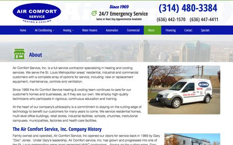 Screenshot of About Page aircomfortservice.com - About Us | Air Comfort Service St. Louis & St. Charles, MO - captured Nov. 12, 2016