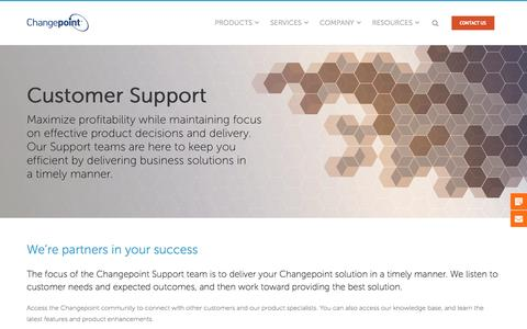 Screenshot of Support Page changepoint.com - Customer support ensures maximum, correct product use | Changepoint - captured March 31, 2017