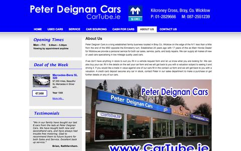 Screenshot of About Page cartube.ie - Peter Deignan Cars, Cars For Sale, Wicklow, Bray, Greystones, Arklow, Cash 4 Cars Wicklow - captured Oct. 2, 2014