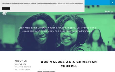 Screenshot of About Page citybiblechurch.org - City Bible Church: Our Values as a Christian Church | Portland & Vancouver - captured July 18, 2018