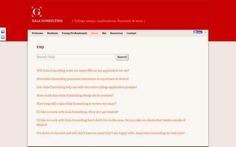 Screenshot of FAQ Page galaconsulting.com - FAQ   Gala Consulting - captured Oct. 1, 2014