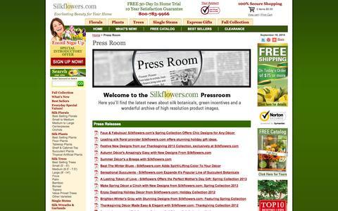 Screenshot of Press Page silkflowers.com - Press Room - captured Sept. 19, 2014