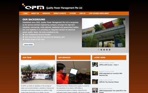 Screenshot of Home Page qpower.com.sg - QPM — Quality Power Management - captured Oct. 8, 2014