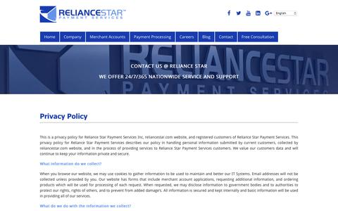 Screenshot of Privacy Page reliancestar.com - Privacy Policy - Reliance Star Payment Services - captured Nov. 7, 2017