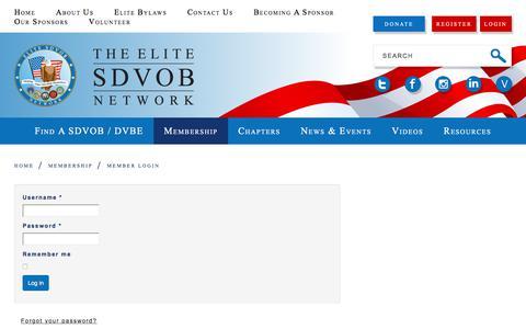 Screenshot of Login Page elitesdvob.org - Member Login - captured July 29, 2017