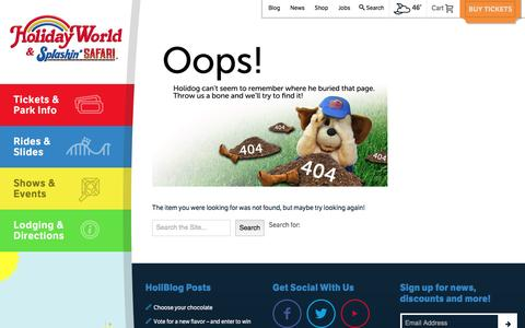 Screenshot of Hours Page holidayworld.com - Page Not Found - Holiday World - captured Jan. 30, 2016