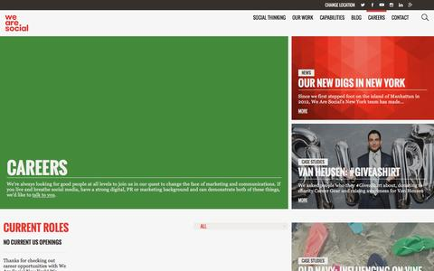Screenshot of Jobs Page wearesocial.com - Careers - We Are Social USA - captured April 19, 2016