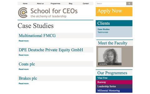 Screenshot of Case Studies Page schoolforceos.com - Case Studies - School for CEOs - captured July 18, 2018