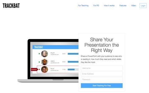 Screenshot of Home Page trackbatapp.com - Trackbat: Track your presentations - captured Jan. 19, 2015