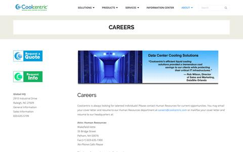 Screenshot of Jobs Page coolcentric.com - Careers - Coolcentric - captured Sept. 29, 2018