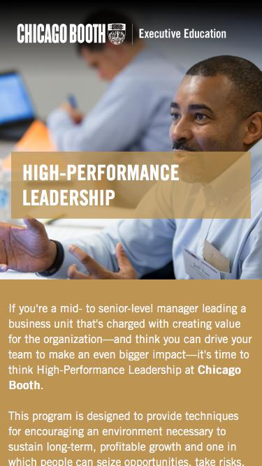 Executive Education at Chicago Booth | High-Performance Leadership