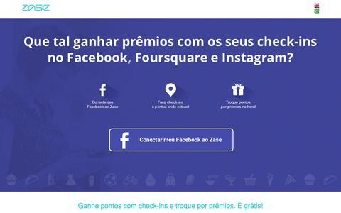 Screenshot of Home Page zase.com.br - Prêmios por seus check-ins | Zase - captured Sept. 17, 2014