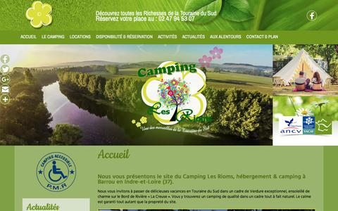 Screenshot of Home Page camping-lesrioms.com - Camping, camping nature à Barrou (37) - Camping Les Rioms - captured March 14, 2018
