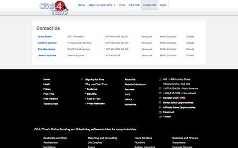 Screenshot of Contact Page click4time.com - Contact Us - captured Sept. 19, 2014