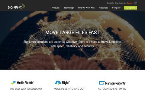 Screenshot of Home Page signiant.com - Intelligent File Movement – Signiant Home - captured March 8, 2018