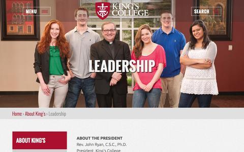 Screenshot of Team Page kings.edu - Leadership | King's College - captured Oct. 2, 2015