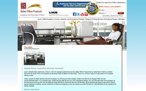 Screenshot of FAQ Page bakerofficeproducts.com - Office Products, Office Furniture, Janitorial in Lubbock, Texas - captured Sept. 30, 2014
