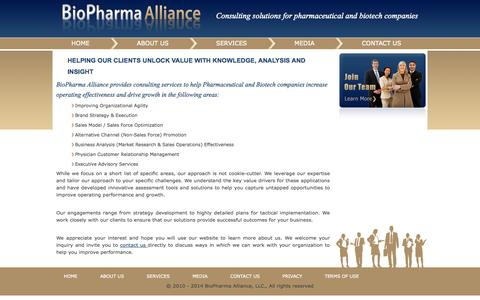Screenshot of Services Page biopharmaalliance.com - services - captured Sept. 30, 2014