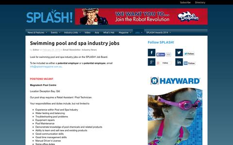 Screenshot of Jobs Page splashmagazine.com.au - Swimming pool and spa industry jobs - Splash! MagazineSplash! Magazine - captured Sept. 30, 2014