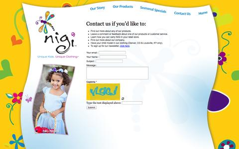 Screenshot of Contact Page nigikids.com - Contact NiGi Children's ClothingNiGi Children's Clothing - captured Oct. 26, 2014