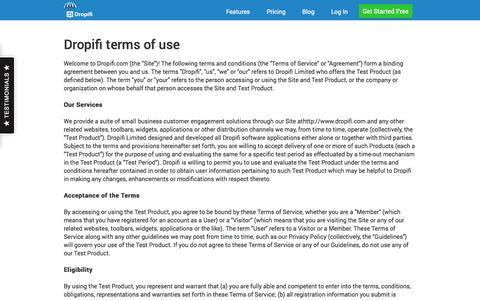 Screenshot of Privacy Page Terms Page dropifi.com - Dropifi.com - Terms Of Use - captured Oct. 22, 2014