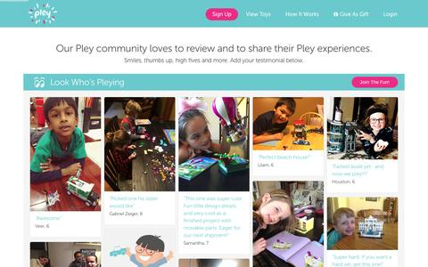 Screenshot of Testimonials Page pley.com - Pley reviews |  Pley | Rent the coolest toys including LEGO®, American Girl and other amazing toys - captured Feb. 22, 2016