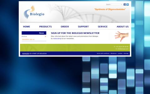 Screenshot of Signup Page biolegio.com - Biolegio newsletter - captured Oct. 5, 2014