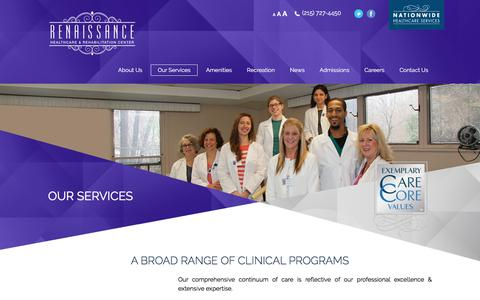 Screenshot of Services Page renaissancehcr.com - Philadelphia, PA Specialized Wound Care Facility | Pain Management Center Philadelphia - captured July 14, 2017