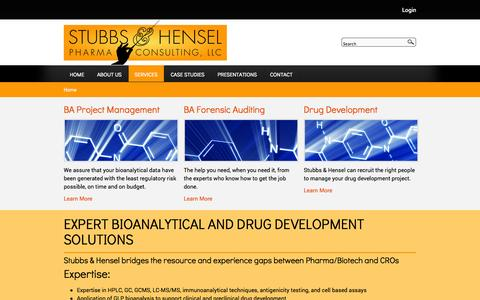 Screenshot of Services Page stubbs-hensel.com - EXPERT BIOANALYTICAL AND DRUG DEVELOPMENT SOLUTIONS | Stubbs & Hensel - captured Oct. 8, 2014