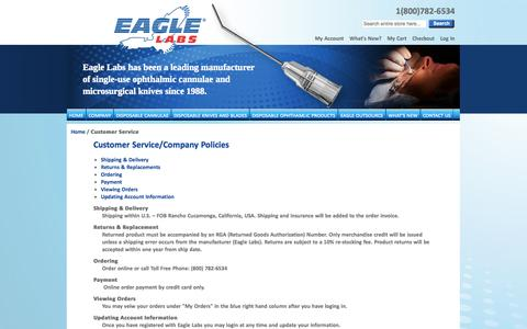 Screenshot of Support Page eaglelabs.com - Customer Service - captured Oct. 28, 2014
