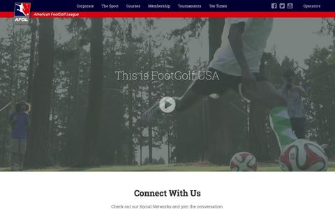 Screenshot of Home Page afgl.us - American FootGolf League - captured Sept. 26, 2015