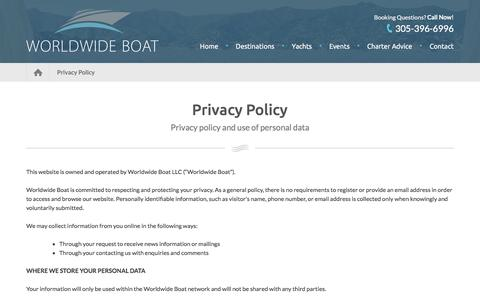 Screenshot of Privacy Page worldwideboat.com - Privacy Policy | Worldwide Boat - captured Nov. 7, 2017