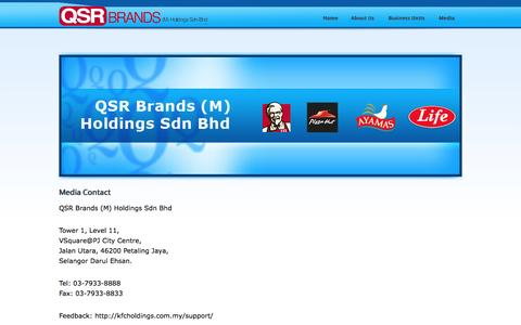 Screenshot of Press Page qsrbrands.com - Media Contact - QSR Brands - captured Nov. 21, 2016